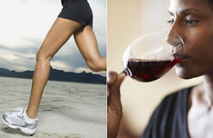 women running and women drinking wine